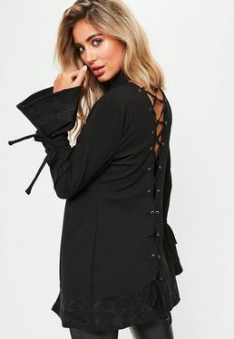 Black Lace Up Back Embroidered Detail Blazer