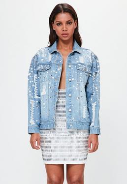 Peace + Love Niebieska owersajzowa jeansowa kurtka katana ze zdobieniami