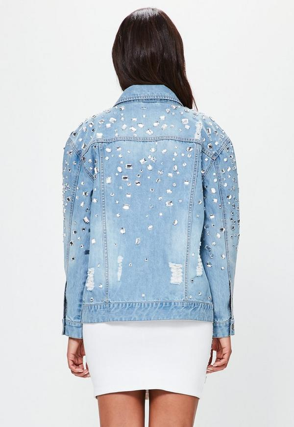 Peace Love Blue Oversized Embellished Denim Jacket
