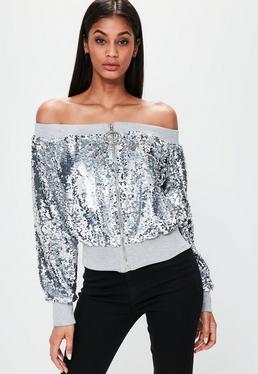Londunn + Missguided Schulterfreie Bardot Pailletten Jacke in Silber