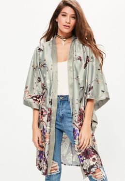 Grey Oriental Printed Kimono Sleeve Duster Jacket