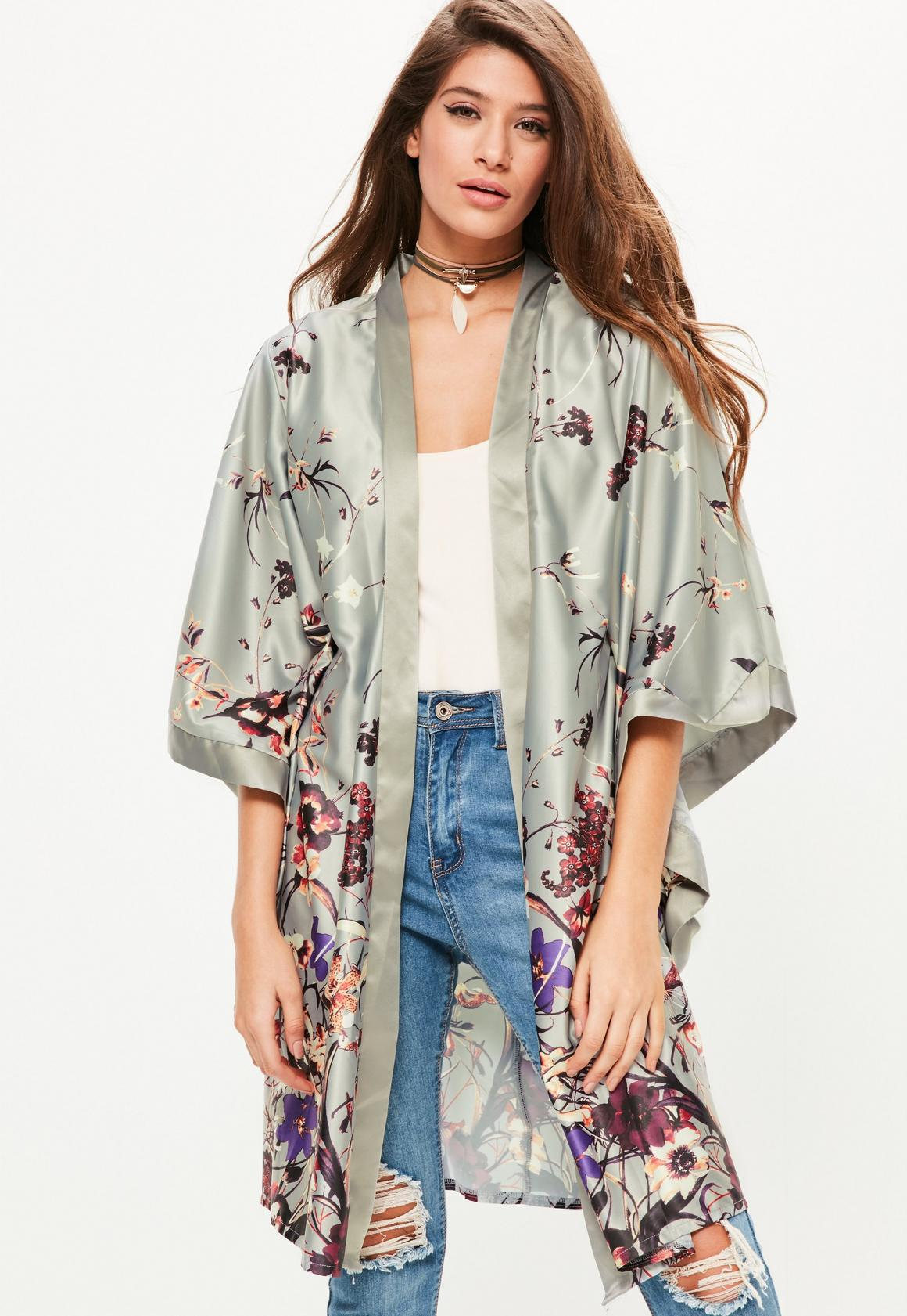 Grey Oriental Printed Kimono Sleeve Duster Jacket | Missguided ...