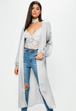 Grey Satin Ruched Tie Cuff Duster Jacket