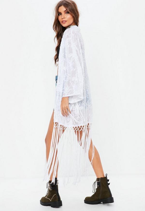 Premium white tassel embroidered kimono missguided