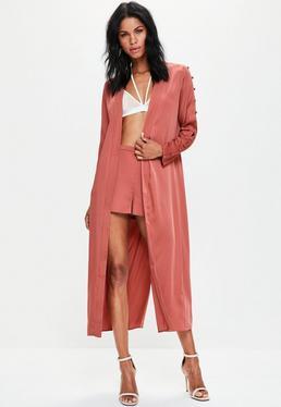 Premium Duster Mantel in Pink