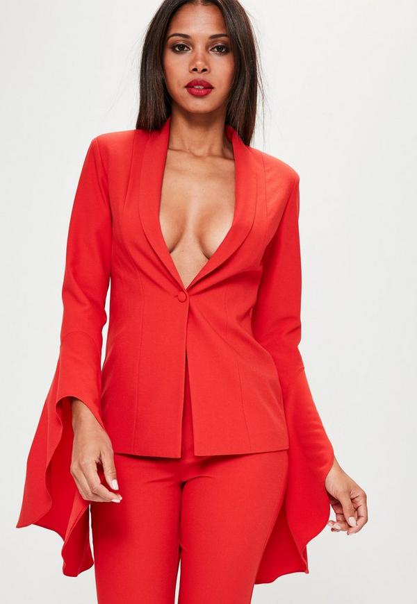 Red Asymmetric Draped Frill Sleeve Blazer