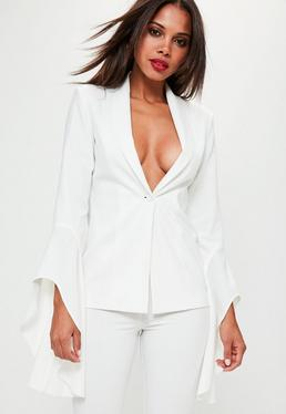 White Asymmetric Draped Frill Sleeve Blazer