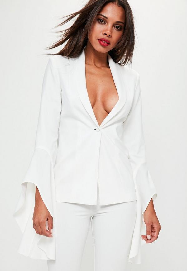 White Asymmetric Draped Frill Sleeve Blazer