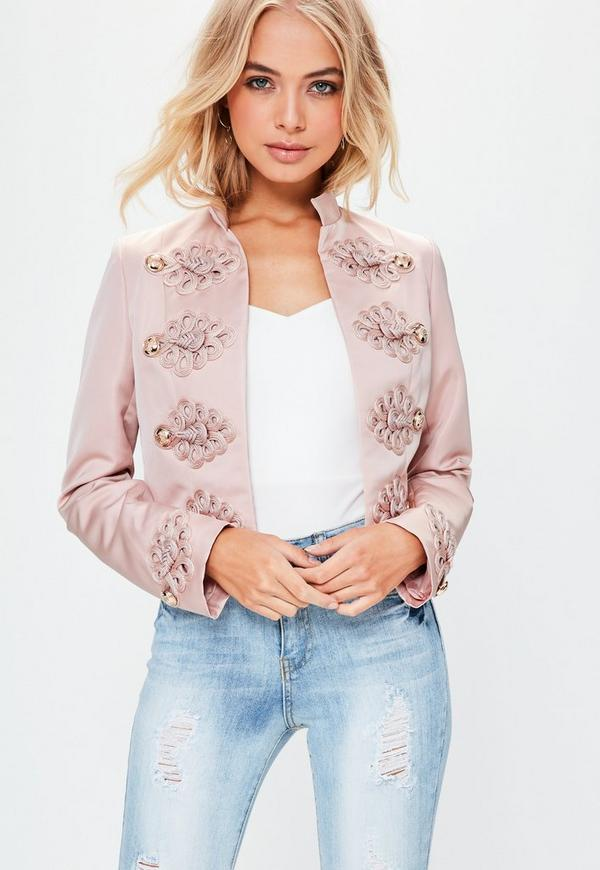 Premium Pink Military Button Detail Cropped Jacket