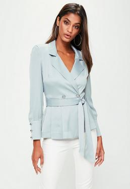 Grey Extreme Shoulder Tie Waist Blazer