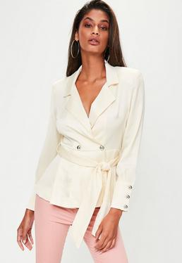 White Extreme Shoulder Tie Waist Blazer