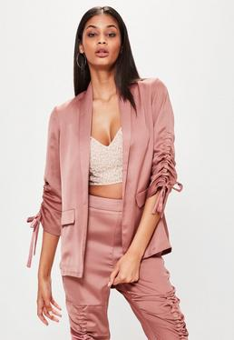Rose Gold Ruched Sleeve Satin Blazer