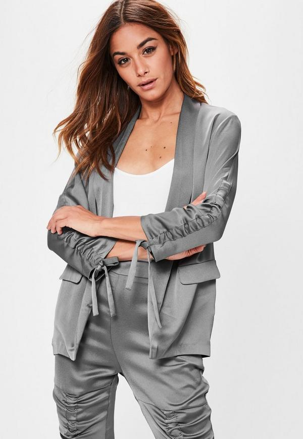 Grey Ruched Sleeve Satin Blazer
