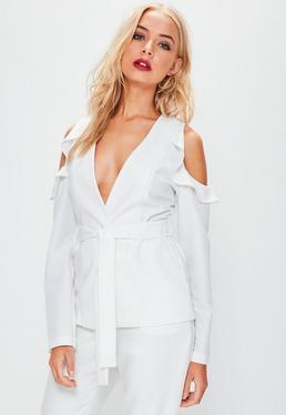 White Cold Shoulder Tie Waist Blazer