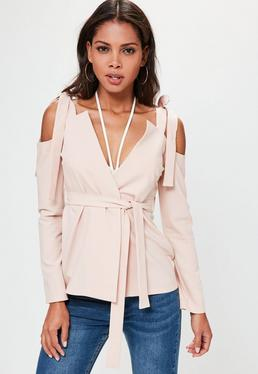 Nude Cold Shoulder Tie Detail Blazer