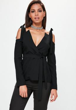 Black Cold Shoulder Tie Detail Blazer