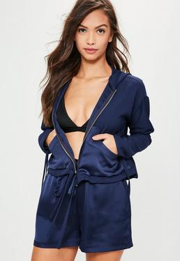 Navy Cropped Hooded Bomber Jacket