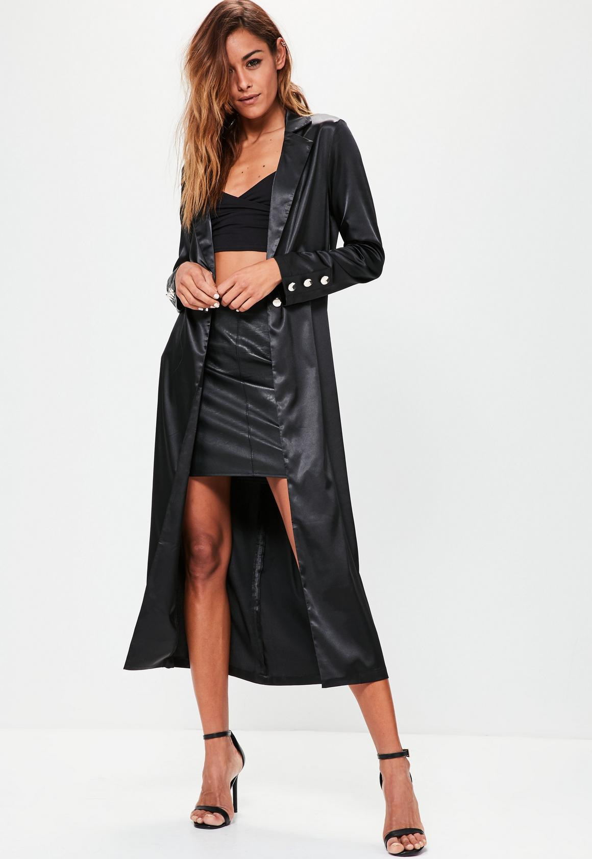 Black dress and coat -  Black Satin Gold Button Detail Duster Jacket