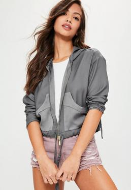 Grey Cropped Hooded Bomber Jacket