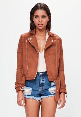 Peace + Love Orange Faux Suede Biker Jacket
