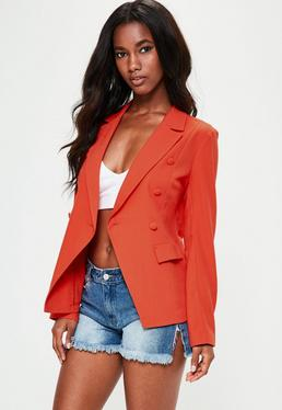 Orange Military Style Crepe Blazer