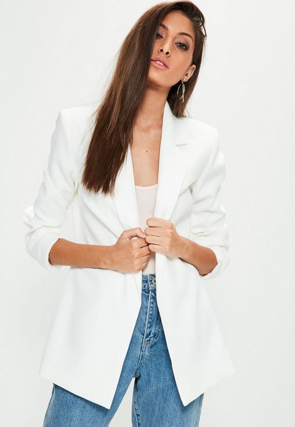 white longline blazer missguided. Black Bedroom Furniture Sets. Home Design Ideas