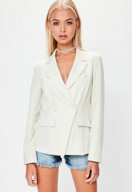 White Military Style Crepe Blazer