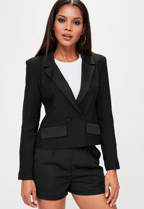 Black Cropped Tuxe Jacket