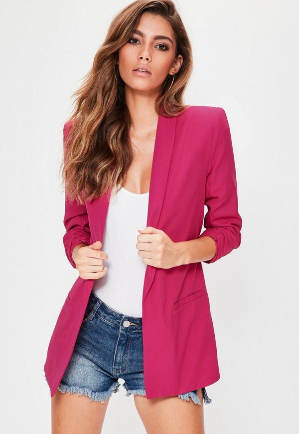 Pink Gathered Sleeve Crepe Tailored Blazer