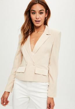 Nude Cropped Tuxe Jacket
