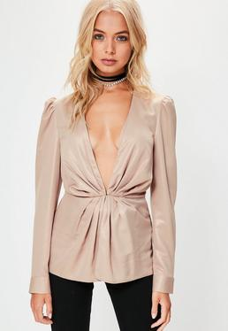 Rose Gold Gathered Shoulder Metallic Blazer
