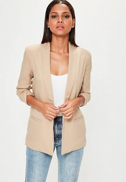 Nude Gathered Sleeve Crepe Tailored Blazer