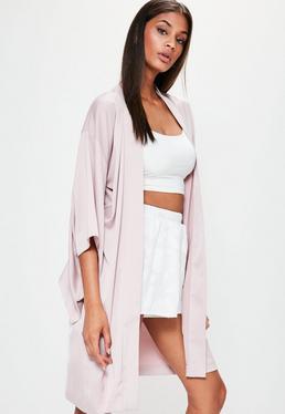 Nude Satin Flared Sleeve Kimono Jacket