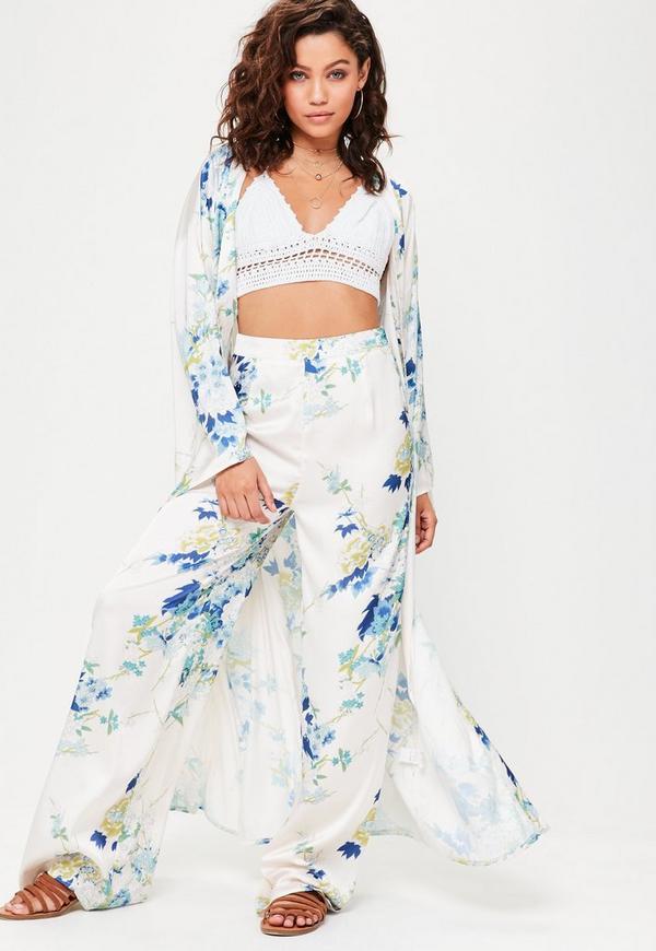 Cream Floral Print Satin Kimono