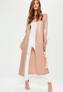 Rose Gold Metallic Tie Waist Duster Jacket