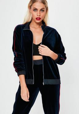 Navy Velvet Red Binding Zip Up Tracksuit Jacket