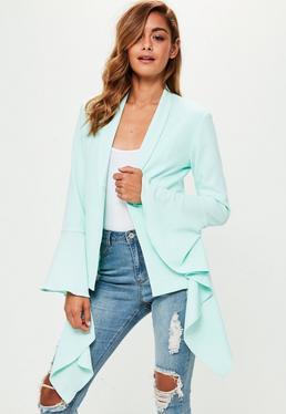 Green Extreme Ruffle Sleeve Crepe Blazer
