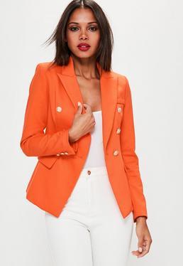 Taillierter Military Blazer in Orange