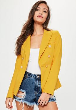 Yellow Tailored Military Jacket
