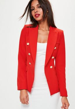 Taillierter Military Blazer in Rot
