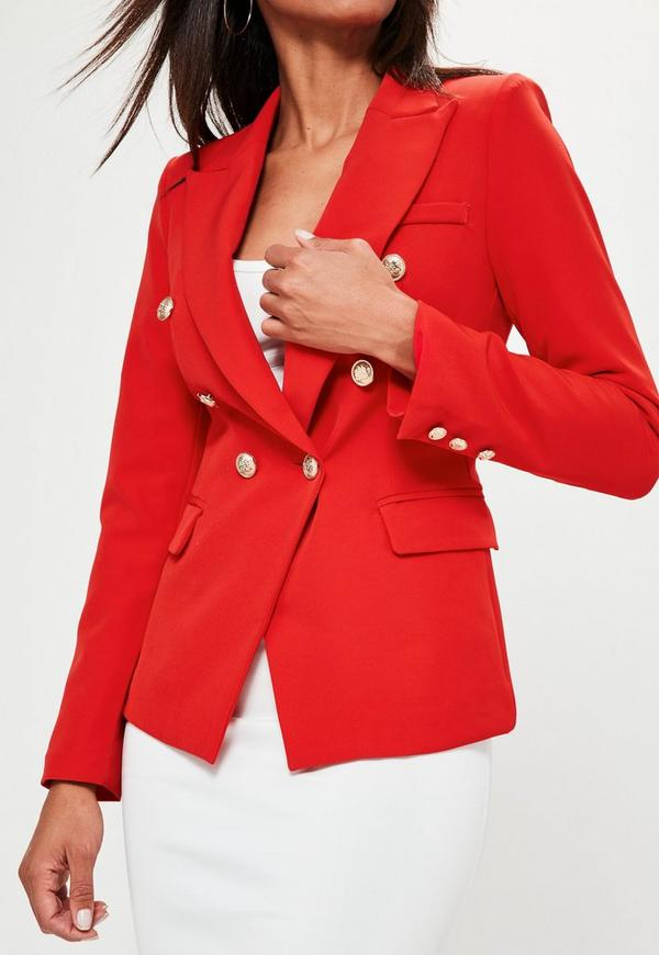 Red Tailored Military Jacket | Missguided