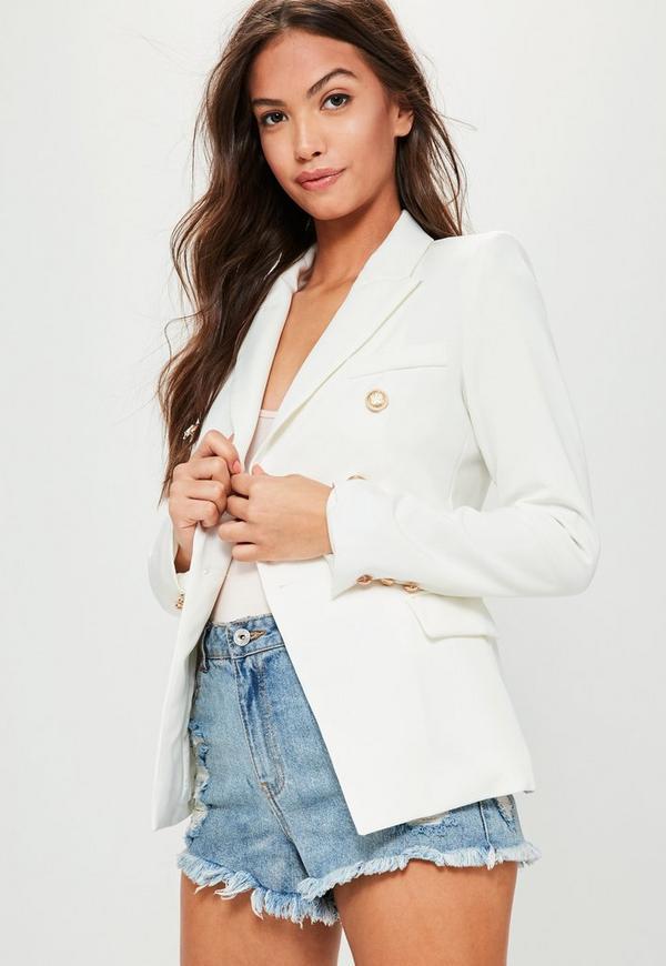 White Tailored Military Jacket