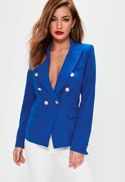 Veste de tailleur style militaire bleue