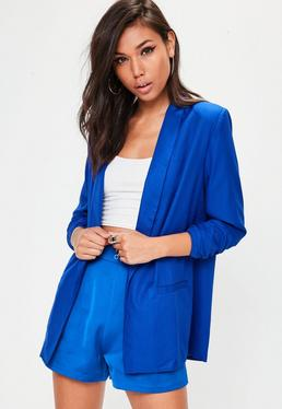Blue Gathered Sleeve Blazer