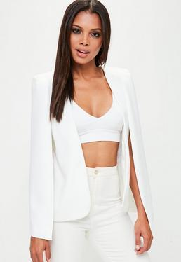 White Tailored Shoulder Pad Cape Blazer