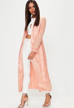 Pink Chiffon Sleeve Duster Jacket