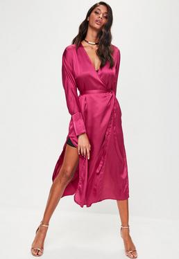 Pink Tie Belt Wrap Duster Jacket