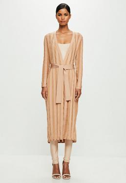 Peace + Love Nude Longlseeve Bandage Duster Coat