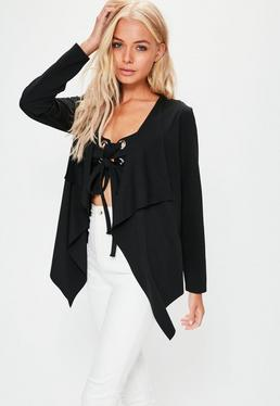 Asymmetrischer Lace-Up Blazer in Schwarz