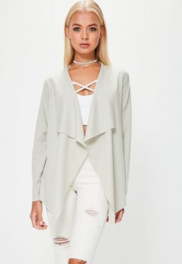 Grey Crepe Waterfall Blazer